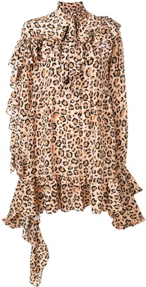 Rokh Leopard-Print Ruffle Dress