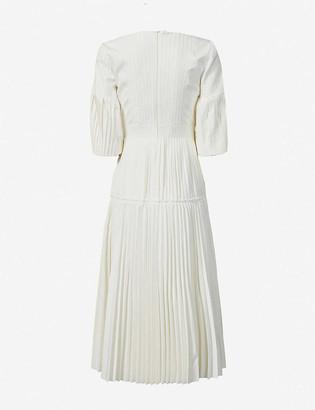 Huishan Zhang Calliope pleated cotton-blend maxi dress