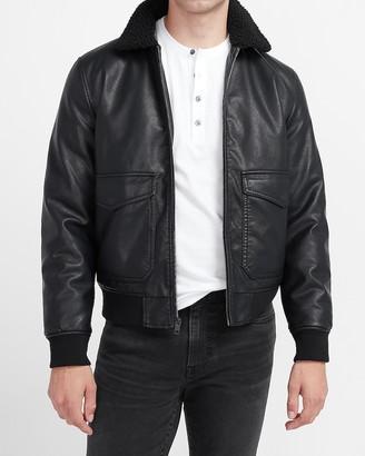 Express Sherpa Collar Vegan Leather Bomber Jacket
