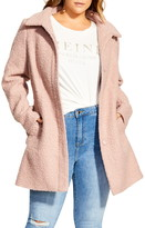 City Chic Sweet Dreams Removable Faux Fur Collar Coat