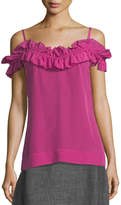 Trina Turk Ruffled Cold-Shoulder Tank Top
