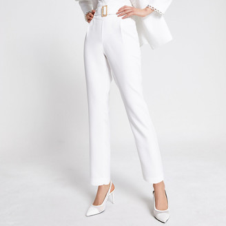 River Island Cream high belted waist tapered trousers