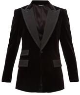 Dolce & Gabbana Single-breasted Jacquard-lapel Velvet Jacket - Mens - Black