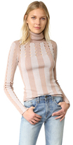 Alice + Olivia Catheryn Pointelle Turtleneck Sweater