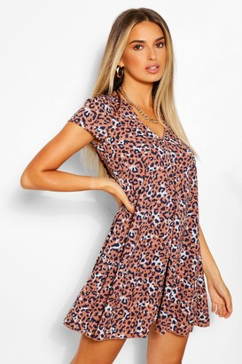 boohoo Leopard Print V Neck Shift Dress