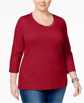 Karen Scott Plus Size V-Neck Top, Only at Macy's
