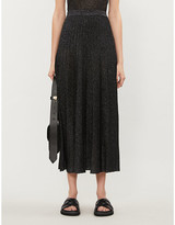 Joseph Pleated metallic midi skirt