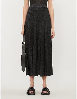 Joseph Pleated metallic midi skirt