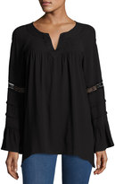 XCVI Anchorage Top with Lace Trim, Black