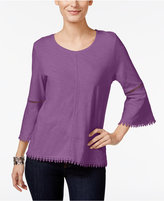 Style&Co. Style & Co Crochet-Trim Bell-Sleeve Top, Only at Macy's