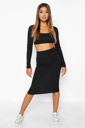 boohoo Square Neck Long Sleeve Top & Midi Skirt Set
