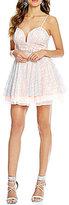 B. Darlin Spaghetti Strap Glitter Mesh Skater Dress