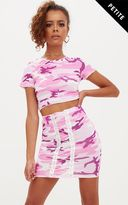 PrettyLittleThing Petite Pink Camo Lace Up Skirt