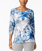 Alfred Dunner Arizona Sky Floral-Print Necklace Top