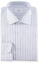Brioni Striped Dress Shirt, Navy/Lavender