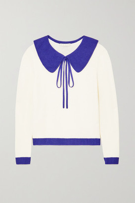 USISI SISTER Ellie Tie-detailed Two-tone Wool-blend Sweater - White