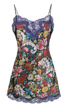 Marques Almeida Marques'almeida Floral Printed Slip Dress with Lace Trim