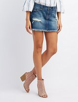 Charlotte Russe Refuge Destroyed Denim Mini Skirt