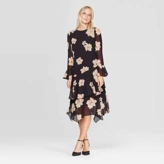 Who What Wear Women's Long Sleeve Boat Neck Tiered Ruffle Hem A Line Dress - Who What WearTM