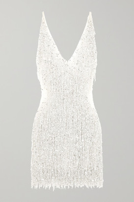Naeem Khan Gatsby Embellished Chiffon Mini Dress - White
