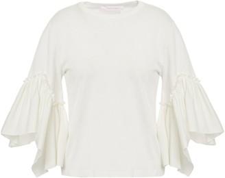 See by Chloe Ruffled Poplin-paneled Cotton-jersey T-shirt