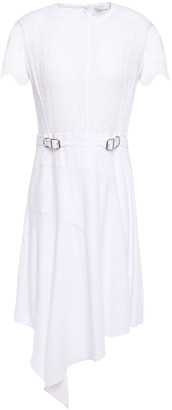 Carven Asymmetric Buckle-embellished Lace And Crepe Dress