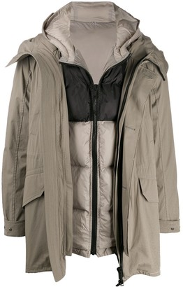 Yves Salomon layered hooded coat
