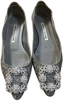 Manolo Blahnik Hangisi Grey Cloth Ballet flats