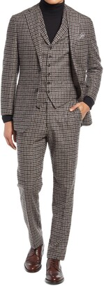 Suitsupply Check Three Piece Wool Blend Suit