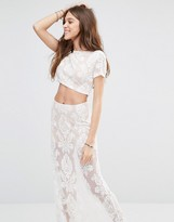 Honey Punch Cropped T-Shirt With Sheer Lace Paisley Print Co-Ord