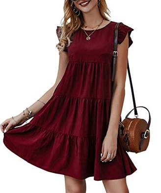 KIRUNDO Women's Summer Mini Dress Sleeveless Ruffle Sleeve Round Neck Solid Color Loose Fit Short Flowy Pleated Dress (