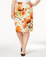 Kasper Plus Size Floral-Print Scuba Pencil Skirt