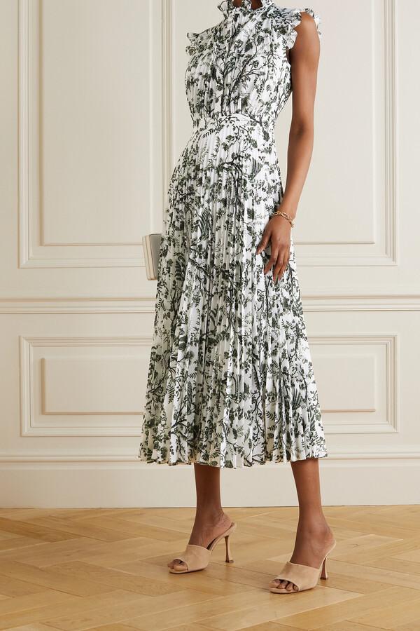 Erdem Roisin Ruffled Pleated Floral-print Voile Midi Dress - White