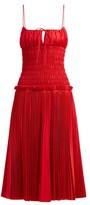 KHAITE Delphine Smocked-bodice Cotton Dress - Womens - Red