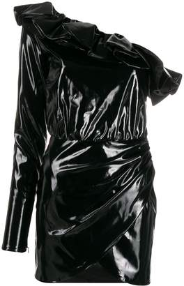 Amen ruffled faux-leather dress