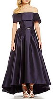 Vince Camuto Off-The-Shoulder Short Sleeve Gown