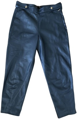 Trussardi Blue Leather Trousers for Women