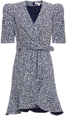 Jonathan Simkhai Evelyn Wrap-effect Belted Floral-print Crepe Mini Dress