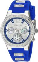Invicta Women's 'BLU' Quartz Stainless Steel and Silicone Casual Watch, Color:Blue (Model: 24203)