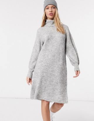 Y.A.S knitted dress with high neck and volume sleeve in light grey