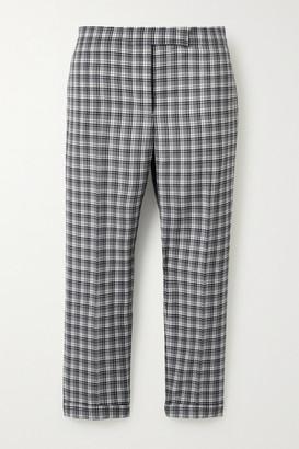 Thom Browne Cropped Checked Wool Slim-leg Pants - Gray