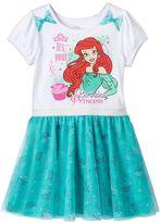"Disney Princess Ariel Girls 4-6x ""Birthday Princess"" Glitter Tulle Dress"