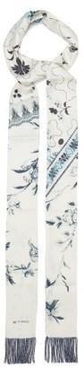 Etro Bead-fringed Floral-print Silk-faille Scarf - White Multi