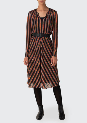 Akris Punto Houndstooth Long-Sleeve Midi Dress