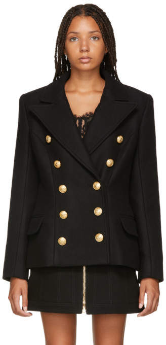 Balmain Black Wool and Cashmere Double-Breasted Jacket