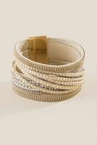francesca's Gia Studded Wrap Bracelet - Taupe