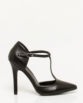 Le Château Leather-Like Pointy T-strap Pump
