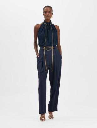 Oscar de la Renta Chain-Embroidered Pants