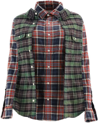 R 13 DOUBLE CHECKERED SHIRT M Red, Green, Blue Cotton