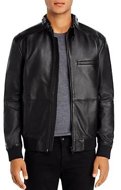 HUGO Lutwin Seamed Leather Biker Jacket